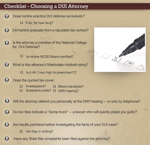Choosing a Qualified DUI Attorney Checklist
